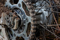 Enduro motorbike wheel and chain closeup shot Royalty Free Stock Image