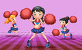Energetic cheerdancers with red pompoms illustration of the Royalty Free Stock Images