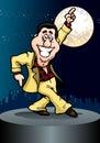 Energetic dancing businessman