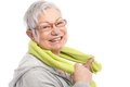 Energetic old woman smiling after workout Royalty Free Stock Photo