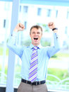 Energetic young businessman portrait of a Stock Photos