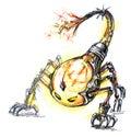 Energy consume monster, scorpion bulb Royalty Free Stock Photos