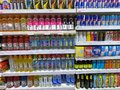 stock image of  Energy Drink, Vitamin Water, Red Bull Cans in Supermarket