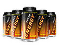 Energy drinks in metal cans Royalty Free Stock Photos
