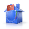 Energy efficiency concept with energy passport d illustration in the pocket Stock Photography