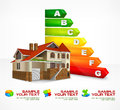 Energy efficiency rating with big house text color vector illustration Royalty Free Stock Photo