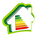 Energy efficiency rating graph inside house icon Stock Images