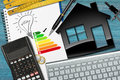 Energy Efficiency Rating with House Model Royalty Free Stock Photo