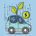 Energy electric car to ecology care Royalty Free Stock Photo