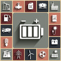 Energy, electricity, power vector flat icon set with shadows Royalty Free Stock Photo