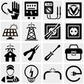 Energy electricity power vector icons set on grey background eps file available Royalty Free Stock Photography