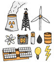 Energy icon set alternative power generation or Stock Photos