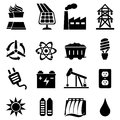 Energy icon set related in black Stock Photography