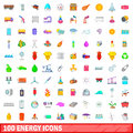 100 energy icons set, cartoon style