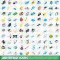 100 energy icons set, isometric 3d style