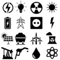 Energy Icons vector set. power illustration symbol. electricity sign or logo collection.