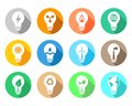 Energy and industry related light bulb set with different icons Royalty Free Stock Photo