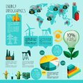 Energy infographics set with and power generation symbols charts and world map vector illustration Stock Image
