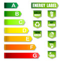 Energy label and environment friendly label saving Stock Image
