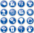 Energy power icon set blue Stock Images