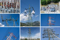 Energy pylon high voltage power transmission Stock Photos