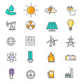 Energy and resource icon set of thin lines icons power production electric industry natural sources flat Royalty Free Stock Photography