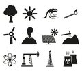 Energy resource icon set vector illustration Royalty Free Stock Images