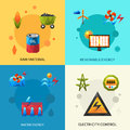 Energy resources icons set raw material renewable and electric control polygonal isolated vector illustration Stock Photography