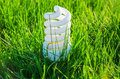 Energy saving bulb in grass white green Royalty Free Stock Image