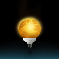 Energy saving lamp in a shape of Earth Stock Image