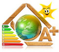 Energy saving - wood and earth Stock Images