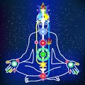 Energy scheme of human body vector with chakras and channels Stock Photo