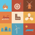 Energy sources history simple icons representing various stages in the of production Stock Images