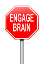 Engage brain concept illustration depicting a sign with an Royalty Free Stock Photo