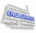 Engagement d word collage interaction participation involvement engagment in letters with related terms such as encouragement Stock Photos