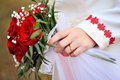Engagement ring finger flowers Royalty Free Stock Photo