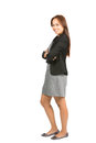 Engaging asian businesswoman side dress at full profile of charming natural in casual black jacket gray arms crossed warmly Royalty Free Stock Photo