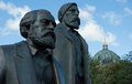 Engels marx statue in berlin the double of en near the dom of Royalty Free Stock Photography