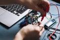 Engeneer hands working with computer elements