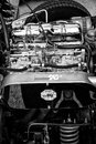 Engine british sports car triumpf spitfire close up berlin may black and white th oldtimer tage berlin brandenburg may berlin Stock Photos
