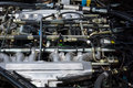 The engine compartment engine of a jaguar xjs v berlin germany may th oldtimer day berlin brandenburg Royalty Free Stock Photo