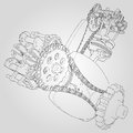 Engine components in disassembled state. Vector illustration of lines.
