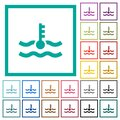 Engine coolant temperature indicator flat color icons with quadrant frames Royalty Free Stock Photo