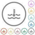 Engine coolant temperature indicator flat icons with outlines Royalty Free Stock Photo