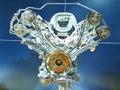 Engine exposée toute neuve de moteur Photo stock