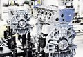 Engine manufacturing production line for of the engines in the car factory Royalty Free Stock Photos