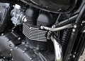Engine of a motorcycle chrome detail the cylinder head Stock Image