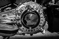 Engine of motorcycle Indian Chieftain. Royalty Free Stock Photo