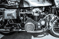 Engine of the motorcycle munch mammoth tts berlin germany may black and white th oldtimer day berlin brandenburg Stock Photo