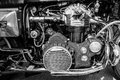 Engine of the motorcycle munch mammoth tts berlin germany may black and white th oldtimer day berlin brandenburg Stock Images